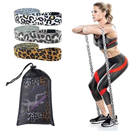 Tixiyu Bandas de resistencia largas de tela para mujeres, bandas de ejercicio antideslizantes con 3 niveles de resistencia, bandas de bucle para entrenamiento de cuerpo completo para tretching yoga