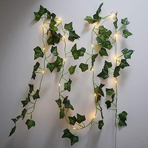 Ivy String Lights, Vine Lights, Fairy Lights Garland Wreath Artificial Green Leaf Flowers Valentine's Day Party Wedding Garden Christmas Decor Room Indoor Outdoor Decoration.(6.5ft 20LEDs)
