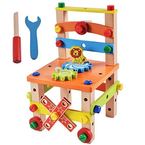 Bomoya Costruisci la tua sedia Montessori Giocattoli, Luban Sedia Smontaggio Giocattolo Set Imparare Precoce Educativo Puzzle Blocks Per Bambini