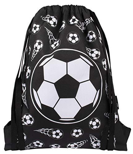 Fringoo – Bolso Tipo Tula para Niños Escuela, Bolso Tipo Tula, para Natación, o Deportes | Incluye Correas de 1.5 cm para más Comodidad – Bolso para Niños – Futbol Negro