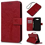 Badalink J7 Case,Samsung Galaxy J7 Case (2015 Version) - Wallet Embossed Butterflies Tree Premuim PU Leather Soft TPU Inner Cover with Wrist String & Magnetic Clip & ID/Credit Card Holders Red