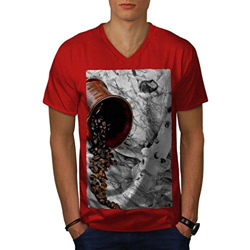 wellcoda Kaffee Bohnen Kunst Essen MännerV-Ausschnitt T-Shirt Grau Grafikdesign-T-Stück