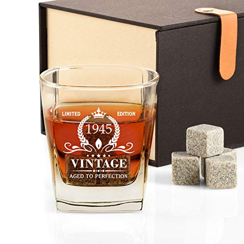 75th Birthday Gifts for Men, Vintage 1945 Whiskey Glass and Stones Funny 75 Birthday Gift for Dad Husband Brother, 75th Anniversary Gift Ideas for Him, 75 Year Old Bday Decorations Party Favors