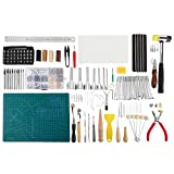 273 Pcs Leather Kit, Leather Working Tools with Cutting Mat,Stamping Tools,Needles,Snaps,Hammer and Rivets...