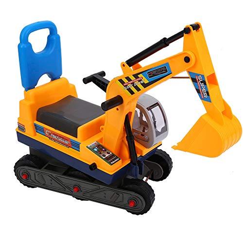 Excavadora para niños con casco de seguridad y pala controlable, juguete para montar en caballo, para niños y jugar