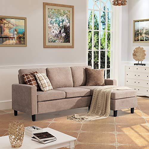 Walsunny Convertible Sectional Sofa Couch with Reversible Chaise, L-Shaped Couch with Modern Linen Fabric for Small Space(Dark Beige)
