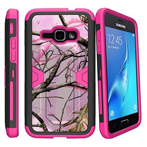 Samsung Samsung Galaxy J1 (2016) Case, Amp2 Case, Express 3 Case, Luna LTE Case [MAX DEFENSE]- Pink and Black Hybrid Case with Slim Built in Kickstand Holster Clip by Miniturtle - Pink Hunters Camo