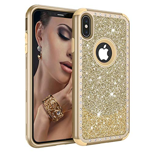 Ranyi iPhone Xs Max Case, Luxury Glitter Sparkle Bling Shiny Diamond Rhinestones Shock Absorbing 360 Full Body Protection Rugged Hybrid 3 Piece Case for Apple 6.5 iPhone Xs Max (2018), Gold+Gold