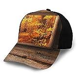 Gorra de béisbol lisa lavada, vista de follaje de otoño desde la ventana de madera con forma cuadrada dentro de la foto de la casa de campo, retro ajustable, regalo para hombres y mujeres