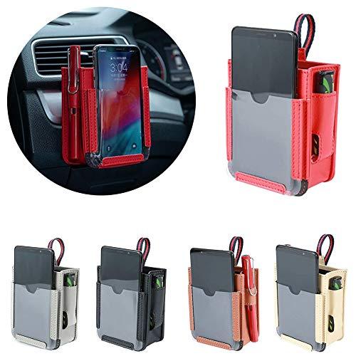 Annie Bolsa de Almacenamiento de ventilación de Aire para Coche 2pcs, Bolsa de Almacenamiento para teléfono móvil de Bolsillo de automóvil Multifuncional (Beige + Negro)