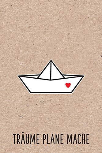 träume plane mache: Papierschiff Papierboot Herz Liebe Heimat Hafen Notizbuch mit linierten Seiten