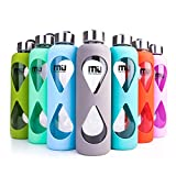 MIU COLOR Glass Water Bottle 550ml with Anti-slip Silicone Sleeve, Leak Proof Borosilicate BPA-Free Eco-Friendly Hot Cold Drink Flask, Ideal for School Home Office Travel Sports Yoga Gym, Lake Blue