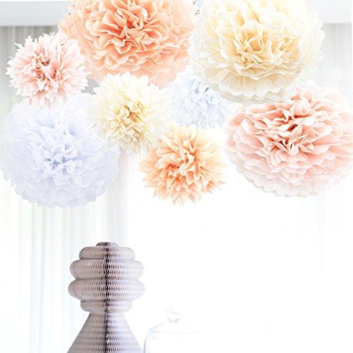 Anokay Hochzeit Deko Set - Seidenpapier PomPoms Luftballons rund weiß altrosa champagne aprikose - Pom Pom für Hochzeitsdeko Tischdeko Geburtstagsdeko Mädchen Party Dekoration (8er Set(Groß))