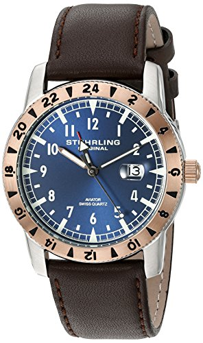 Stuhrling Original Men's 'Aviator' Swiss Quartz Stainless Steel and Brown Leather Casual Watch (Model: 818C.03)