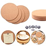 Moi Doi Cork Board, Bulletin Board, Round Pin Boards, Cork Tile Memo Display Board for Home/Kitchen/Office Wall Decor, Extra 3M Double-Sided Adhesive Squares Included, 9 Pack+ Bonus 75 Push Pins