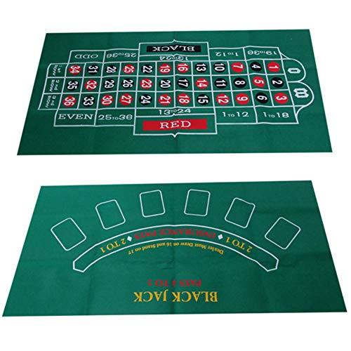 LIXILI Blackjack y Ruleta de Dos Caras, Fieltro de la Mesa, Estera de Juego Perfectamente del tamaño para Adaptarse a la mayoría de Las mesas de Comedor (120x60cm)