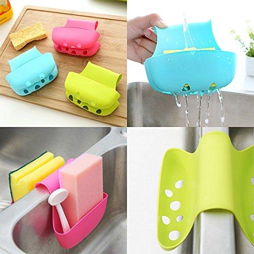 BestWayDigital wastafelbewaarmand voor zeep, spons (blauw, groen, rozerood)