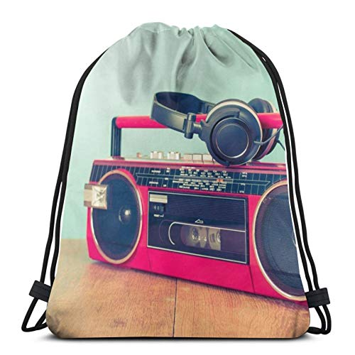 * NEW * 80s Cassette Ghettoblaster Drawstring Bag