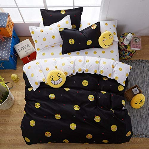 Huooseso 3D Bedding Set ( Super King size 260 x 230 cm) Black emoji smiley photos Bed sheets Queen Twin Full Duvet Cover Bed sheet Pillowcase 3pcs/set Fitted sheet Home Textiles + 2 Pillowcase 50 X