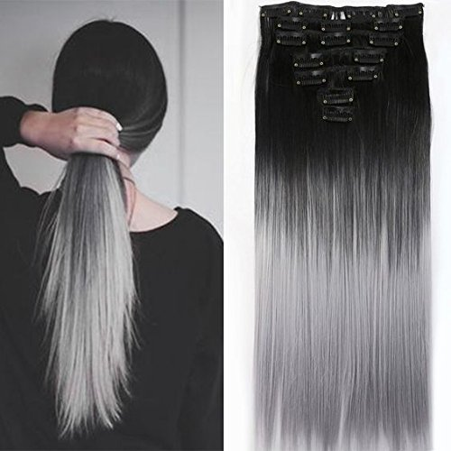 22 Inches Black Grey Syntheic Full Head Ombre Balayage Straight Clip in Hair Extensions Hairpieces