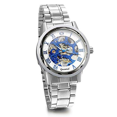 JewelryWe Herren Armbanduhr, Analog Handaufzug, Fashion Business Transparent Steampunk Handaufzug mechanische Uhr mit Edelstahl Armband, Blau Römische Ziffern Zifferblatt