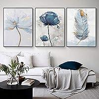 3PCSスカンジナビアフラワーキャンバスアート抽象絵画フェザーデコレーション写真リビングルーム北欧の家の装飾壁のポスター額縁