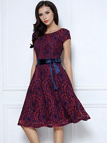 Miusol Kleid Elegant Hochzeit Brautjungfer Mini Spitzenkleider Abendkleider Rot - 7