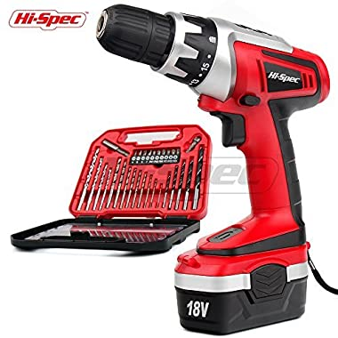 Hi-Spec 18 V Pro Combo Cordless Drill Driver with 1000 mAh Ni-MH Battery, 17 Position Keyless Clutch, Variable Speed Switch & 30 Piece Drill and Screwdriver Bit Accessory Set in Compact Storage Case