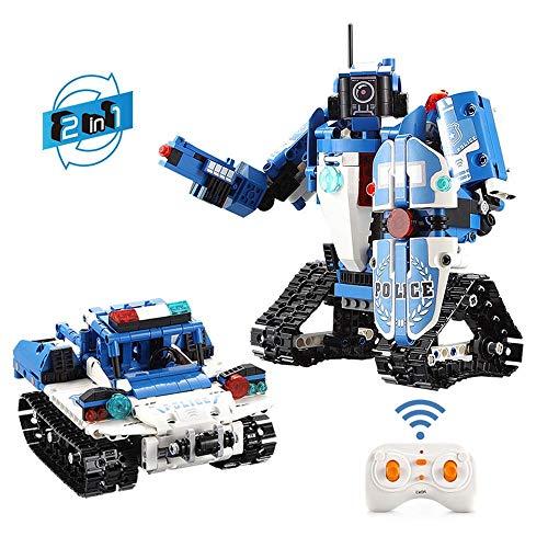 AIOJY 526 Stück RC Roboter Polizeiauto Bauklotz 2-in-1-Kind-Junge-pädagogische zusammengebautes Spielzeug, Puzzle-Fernbedienung Fahrzeuge, Kinder Beste Geburtstags-Geschenke