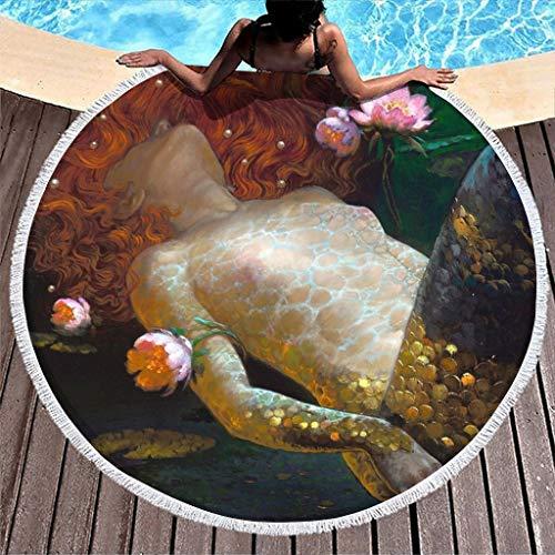 MINNOMO Fantasy Sirenita Piscis Niña Impresión Flor Toalla de playa Redonda con Borlas Ethnica Tie Dye Dormir Blanco 150 cm
