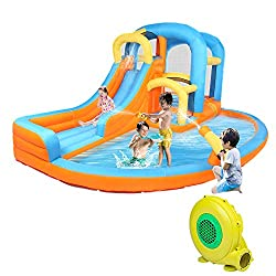 small JOYMOR 5-in-1 inflatable water slide, bounce house with blower, climbing wall, double jump …