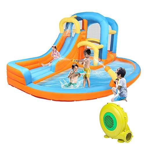 JOYMOR 5-in-1 Inflatable Water Slide Park, Bounce House w/Air Blower, Climbing Wall, Double Jump Area , Splash Pool, Water Gun, Water Slide Castle Outdoor Playhouse for Little Kids