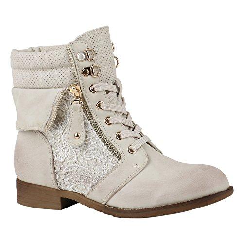 stiefelparadies Damen Stiefeletten Schnürstiefeletten Leder-Optik Schuhe Spitzenstoff Boots Zipper Schnürboots 144312 Creme Zipper 39 Flandell