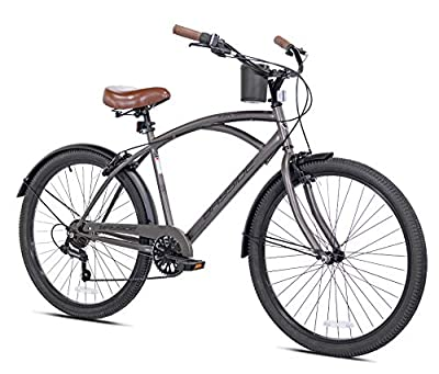 "Snow Shop Everything 26"" 7-Speed Bayside Men's Bike, Satin Cocoa Color, Quick-Release Seat, for Height Sizes 5'2"" and Up"