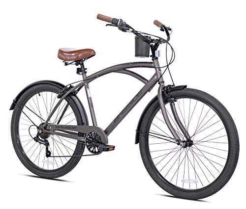 Snow Shop Everything 26' 7-Speed Bayside Men's Bike, Satin Cocoa Color, Quick-Release Seat, for Height Sizes 5'2' and Up