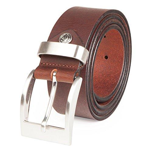 Lindenmann Mens Leather Belt/Mens Belt, full grain leather belt XXL, buffalo leather, dark brown, Größe/Size:100, Farbe/Color:marron