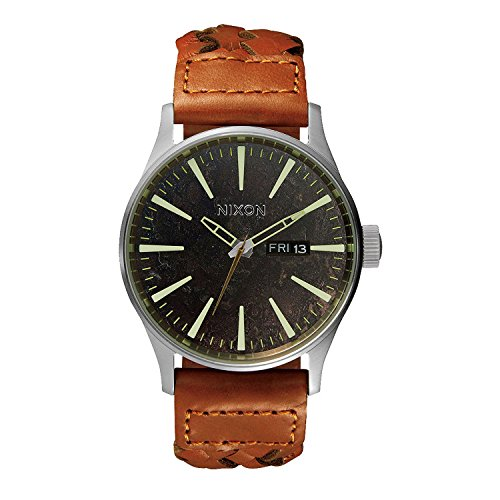 Nixon Herren Analog Quarz Uhr mit Leder Armband A1051959-00