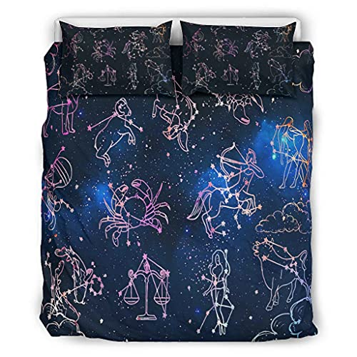 WOSITON Colcha Constellation Star Constellation Kits de sábanas Categorías Patrón Europeo Color Oscuro Cama Doble Blanco 229x229cm