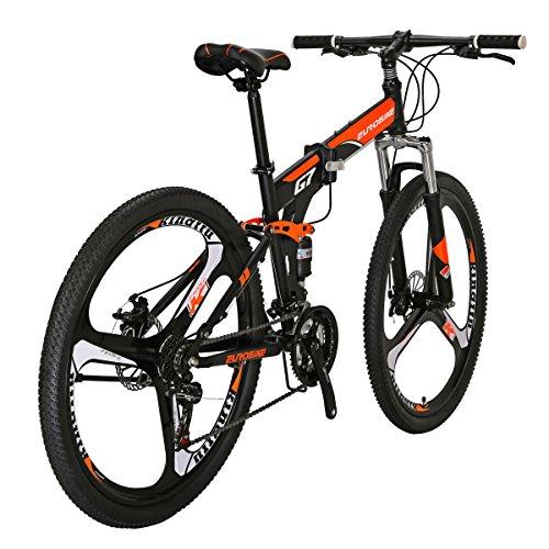 Eurobike G7 Folding Mountain Bikes 27.5 Inches 3 Spoke Wheels 21 Speed Dual Suspension Folding Bicycle Blackorange
