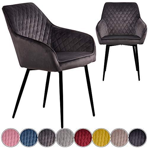 iomangio® Esszimmerstühle 2er Set | Dunkel Grau Esszimmerstuhl mit Armlehne Küchenstuhl | Polsterstuhl Design Stuhl mit Rückenlehne, mit Sitzfläche aus Samt/Stoffbezug | Gestell aus Metall