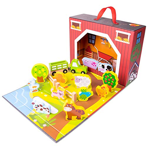 Imagination Generation Take-Along Barnyard Playset | Portable  Foldable Farm House Set | Comes with Fences  Animals  Crops  and Bales of Hay | Also Includes Cart and Tractor for Pretend Farmer Play