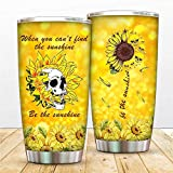Funny Mugs For Women - Be The Sunshine Coffee Mug - Sunflower Skull Loving 20oz Cup For Best Friend,Son,Daughter - Lovers Of Sunflower Sunshine Skeleton
