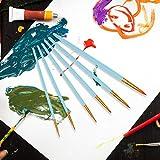 Juego de brochas de nailon para el cabello, brocha para pintar, herramienta para brochas para pintar, suministros de arte para principiantes,(Matte blue rod)