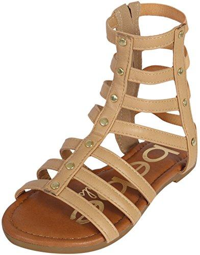 bebe Girls Strappy Gladiator Sandal, Tan, 8 M US Toddler