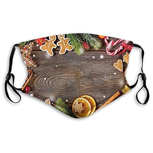 FULIYA confortevole maschera stampata, Gingerbread Man, cornice natalizia con spezie Biscotti elementi su tavola artistica, multicolore, decorazioni per il viso antivento per unisex