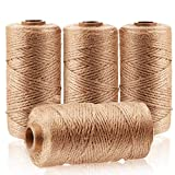 Arit Estelleshows Natural Jute Twine 4Pcs(1312 Foot),Craft Twine String Twine Industrial Packing Materials Packing String for Gifts,DIY Crafts, Decoration, Bundling, Gardening and Recycling