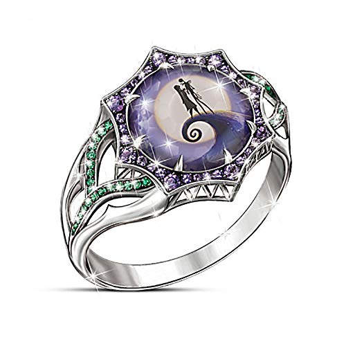 Jack Skellington Rings Gothic Ring Crystals Skull Silver Ring Black Steampunk Enamel Rings Before Christmas Jack Gothic Party Accessories for Women