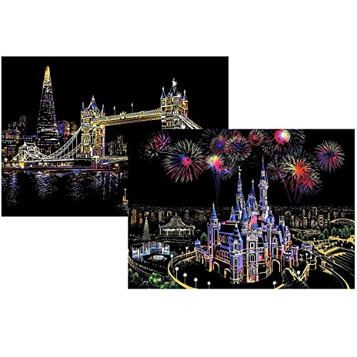 Scratch Art Paper, Comius 2 Pack 400 × 285 mm Obras De Arte De Raspado De Arco City Series Night Scene Manualidades Scratch Painting para Adultos y niños con Herramientas (Dream Castle + Tower Bridge)