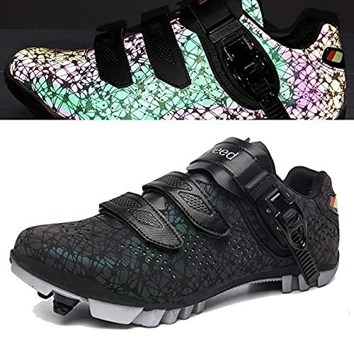 Zapatos de Bicicleta de Montaña Transpirables Para Hombres / Mujeres, Correa de Hebilla Precisa Zapatillas de Ciclismo Mtb Zapatillas de Deporte Spd Zapatillas de Bicicleta Mtb con Autobloqueo,Blue-39