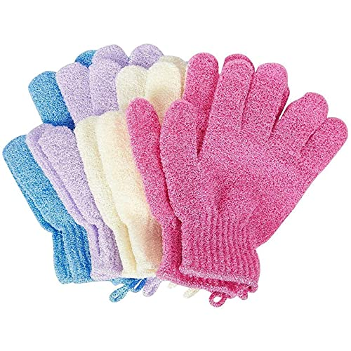 Juvale Exfoliating Shower Gloves (4-Pair) - Scrubbing Gloves Body Scrubbers for Women and Men - (4 Colours)